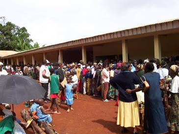 Villagers queuing for testing